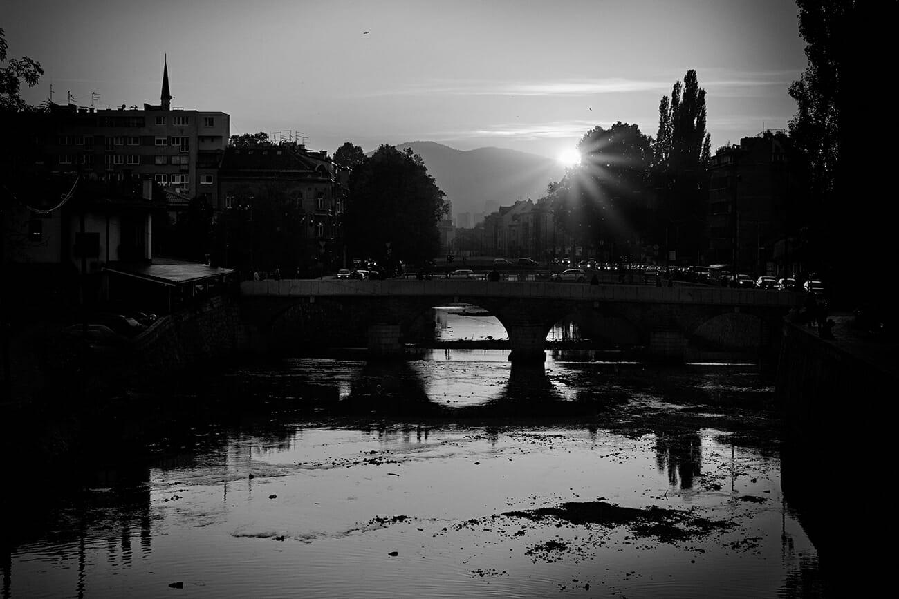 Sarajevo Sunset BW